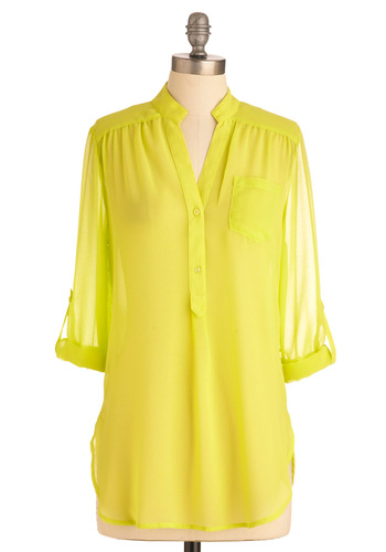 Sheer for You Top - Long, Casual, Urban, Yellow, Solid, Buttons, Pockets, Long Sleeve, 3/4 Sleeve
