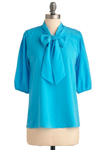Des Colores Top in Sky - Work, Blue, Solid, 3/4 Sleeve, Mid-length