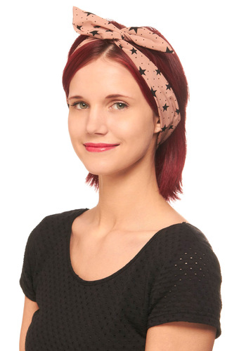 Through the Wire Headband in Starry - Pink, Black, Novelty Print