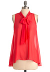 Sheer Style Top - Mid-length, Pink, Solid, Casual, Sleeveless, Tent / Trapeze, Sheer, Coral