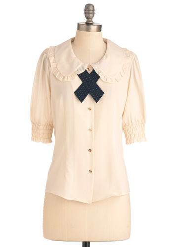 Scholastically Sweet Top by Miss Patina - Mid-length, White, Solid, Peter Pan Collar, Ruffles, Work, Vintage Inspired, Short Sleeves