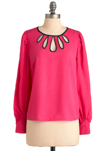 Cutout and About Top - Mid-length, Vintage Inspired, Pink, Black, Cutout, Party, Work, Long Sleeve