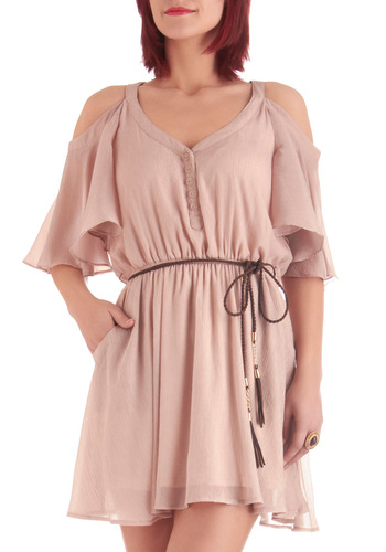 Glimmer of Taupe Dress - Short, Boho, Tan, Solid, Tassels, Short Sleeves, Cutout, Shift, Summer