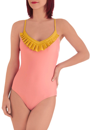Lauren Moffatt Sorbet Side One Piece by Lauren Moffatt - Orange, Yellow, Ruffles, Summer