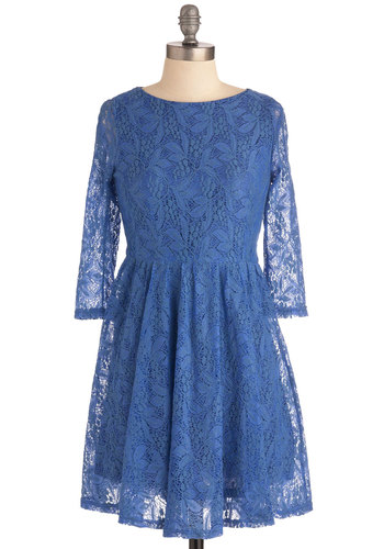 Lady of the Lace Dress - Mid-length, Blue, Lace, A-line, Long Sleeve, Casual, Vintage Inspired, Floral