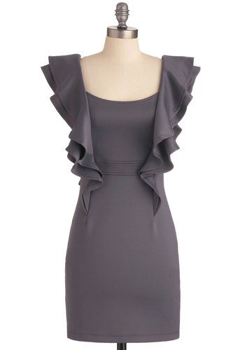 Just Be-Cosmos Dress - Short, Solid, Ruffles, Mini, Short Sleeves, Urban, Grey, Backless, Party, Sheath / Shift