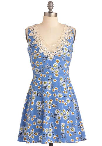 Lotus Relaxation Dress - Short, Blue, Yellow, Cutout, A-line, Casual, Multi, White, Floral, Crochet, Sleeveless, Summer