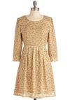 Between Me and Mew Dress - Mid-length, Tan, Bows, Pleats, A-line, Long Sleeve, Casual, Kawaii, White, Print with Animals