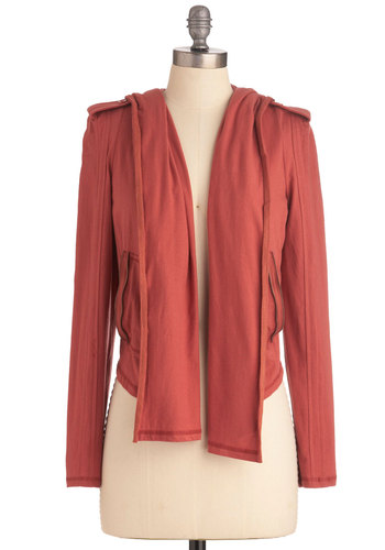 Zippy Trip Cardigan - Solid, Pockets, Casual, Long Sleeve, Orange, Epaulets, Exposed zipper, Hoodie, Long