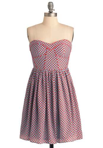 Fine Hearts Student Dress - Blue, Trim, Strapless, Party, Statement, Red, Novelty Print, Shift, Mid-length