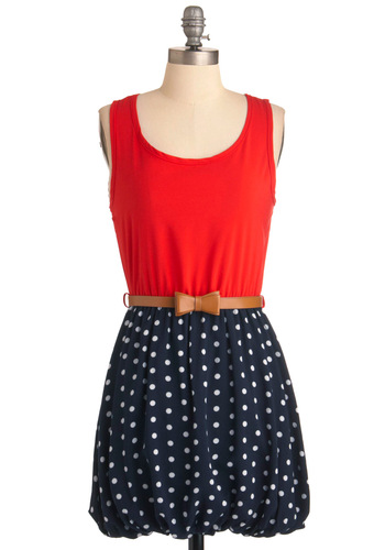 La Di Dots Dress - Short, White, Polka Dots, Bows, Twofer, Tank top (2 thick straps), Red, Blue, Casual, Nautical, Spring, Belted, Summer