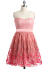 Prettiest of All Dress - Pink, Lace, Strapless, Prom, Fairytale, Floral, A-line, Spring, Mini, Mid-length