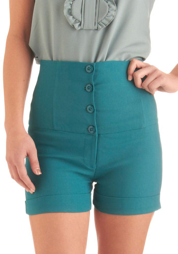 Roller Styling Shorts - Mid-length, Casual, Pinup, Statement, Solid, Buttons, Green, Rockabilly
