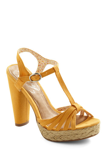 Weave Done It Again Sandal - Yellow, Solid, Woven, Casual, Vintage Inspired, Summer, High, Platform