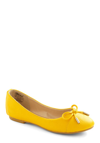 Pave the Way Flat in Yellow - Yellow, Solid, Bows, Casual