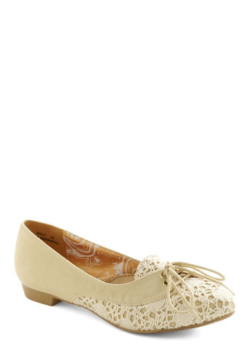 Ladylike This Flat - Cream, Crochet, Casual, Spring, Lace Up, Low
