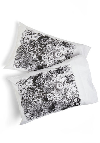 REM-ing the Garden Pillowcase - White, Floral, Dorm Decor, Black
