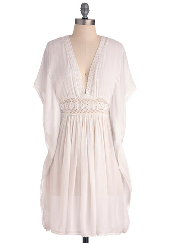 Moonlight of My Life Dress - Mid-length, White, Solid, Crochet, Trim, Empire, Short Sleeves, Casual, Boho, Summer, Top Rated