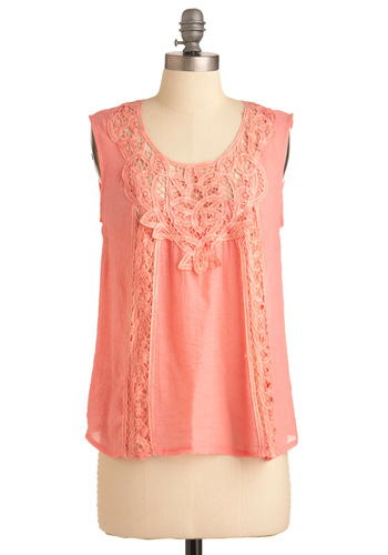 Blushing Apricot Top - Mid-length, Casual, Vintage Inspired, Orange, Solid, Embroidery, Sleeveless, Crochet, Summer