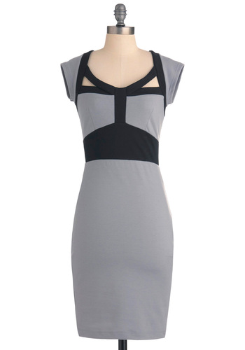 Desk to Date Dress - Mid-length, Grey, Black, Cutout, Trim, Cap Sleeves, Work, Sheath / Shift, Pinup