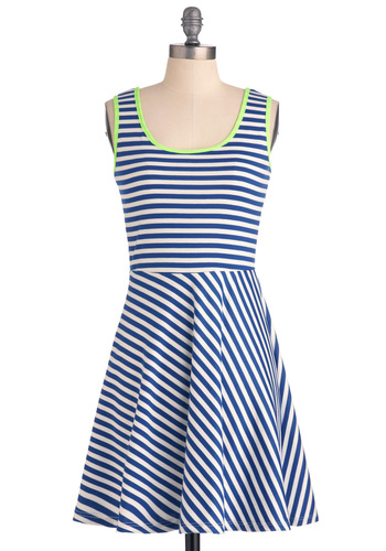 Glow for It Dress - Short, Green, Stripes, Trim, A-line, Tank top (2 thick straps), Urban, Blue, White