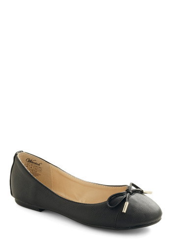 Pave the Way Flat in Black - Black, Solid, Bows, Casual