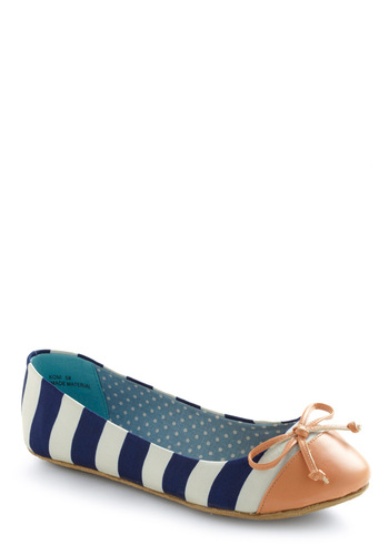 Queen of the Cone Flat in Blue and Pink - Stripes, Bows, Casual, Blue, White