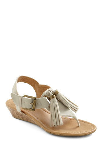 Grab Your Ecru Sandals - White, Gold, Buckles, Tassels, Boho, Summer