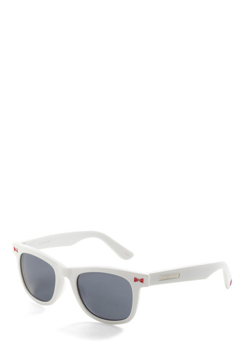 Betsey Johnson Bow Out and Play Sunglasses by Betsey Johnson - White