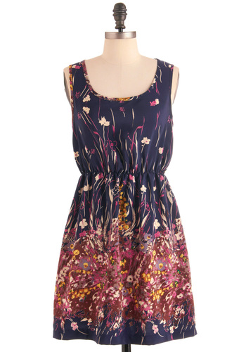 Leave an Impressionist Dress - Mid-length, Casual, Yellow, Blue, Pink, Floral, Sheath / Shift, Sleeveless