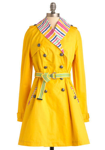 Rain or Sunshine Coat - Long, Yellow, Multi, Solid, Stripes, Buttons, Casual, Long Sleeve, Pockets, Epaulets, A-line, Spring, 2, International Designer