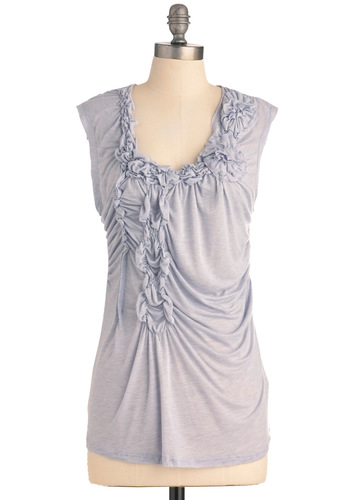 Lavender Tea Top - Purple, Solid, Casual, Flower, Cap Sleeves, Mid-length