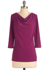 How to Deal Top in Magenta - Solid, Casual, Work, Purple, 3/4 Sleeve, Cowl, Variation, Mid-length, Basic, Pink, 3/4 Sleeve