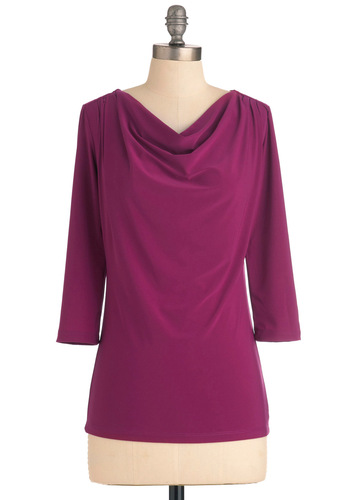 How to Deal Top in Magenta - Solid, Casual, Work, Purple, 3/4 Sleeve, Cowl, Variation, Mid-length