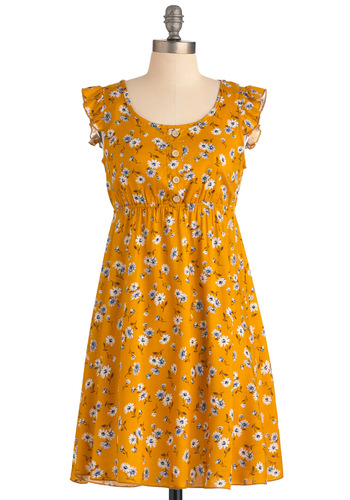 Refreshing Memories Dress - Mid-length, Casual, Vintage Inspired, Yellow, Blue, Brown, White, Buttons, Ruffles, Empire, Multi, Floral, Sleeveless