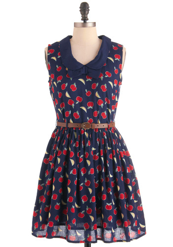 Core of Style Dress by Yumi - Casual, Vintage Inspired, Fruits, Blue, Multi, Red, Yellow, Green, Novelty Print, Bows, Peter Pan Collar, Pockets, A-line, Sleeveless, Mid-length
