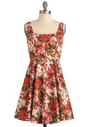 Very Berry Charming Dress in Flowers - Mid-length, Red, Green, White, Floral, Casual, A-line, Tank top (2 thick straps), Spring, Cotton