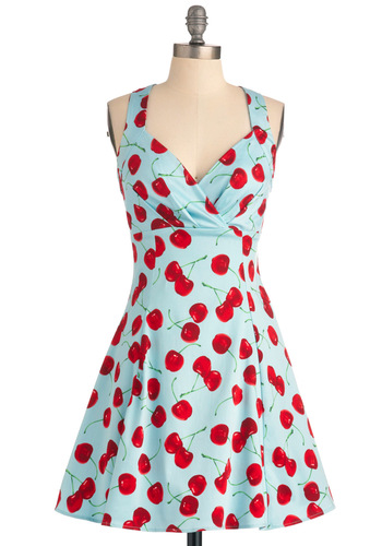 You Are Cherry Welcome Dress - Casual, Rockabilly, Fruits, Blue, Red, A-line, Tank top (2 thick straps), Multi, Green, Summer, Fit & Flare, Spring, Vintage Inspired, 50s, Mid-length, Pinup, Cotton, Sundress