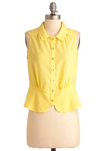 Zest of the Best Top - Short, Yellow, Solid, Buttons, Casual, Vintage Inspired, Sleeveless, Spring, Rockabilly, Pinup
