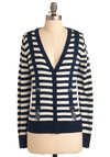 Suspend Your Disbelief Cardigan - Stripes, Casual, Nautical, Long Sleeve, Blue, White, Mid-length, International Designer