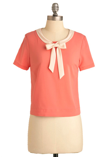 Coral of the Sea Top - Short, Solid, Work, Bows, Short Sleeves, Orange, White, Buttons