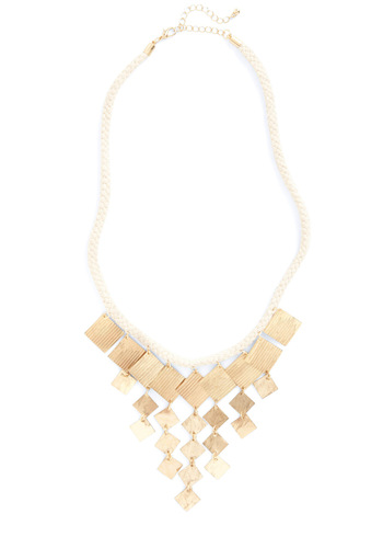 Chime of Your Life Necklace - Gold, White, Woven, Casual, Nautical