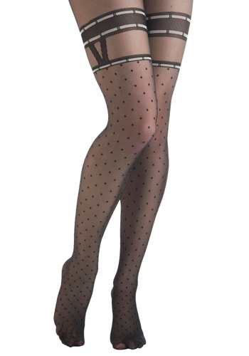 Faux Real Tights - Black, White, Polka Dots, Rockabilly, Pinup, Party, Sheer