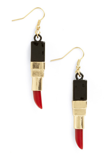 Lip-stick Around Earrings - Red, Black, Gold, Casual