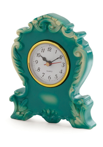Its Never Too Ornate Clock in Teal - Dorm Decor, Green, Solid