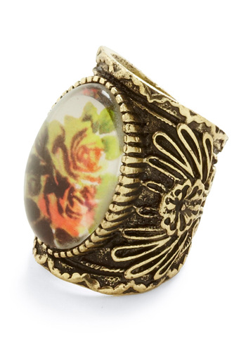 Antique Artistry Ring - Multi, Gold, Orange, Yellow, Green, Floral, Vintage Inspired
