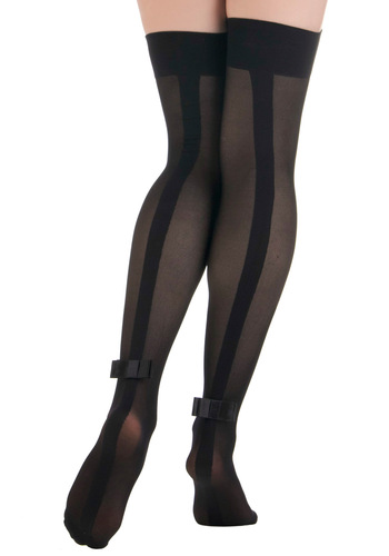 On Tap of the World Thigh Highs - Black, Solid, Bows, Party