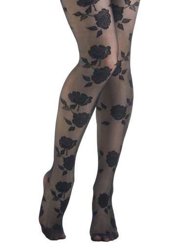 Bloom of One's Own Tights - Black, Floral, Party, Film Noir, Pinup, Vintage Inspired, 30s, 50s, French / Victorian, Darling