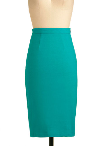 Pencil We Meet Again Skirt in Jade - Green, Solid, Work, Vintage Inspired, Pinup, Long