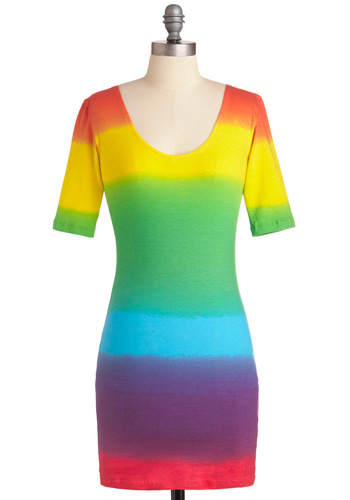 Singing in the Rainbow Dress by Motel - Short, Multi, Multi, Stripes, Party, Shift, Short Sleeves